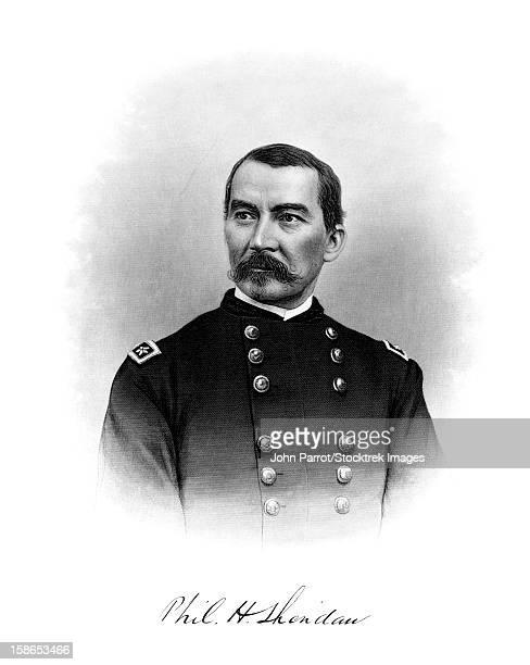 Vintage Civil War Print of General Philip Sheridan and his signature.