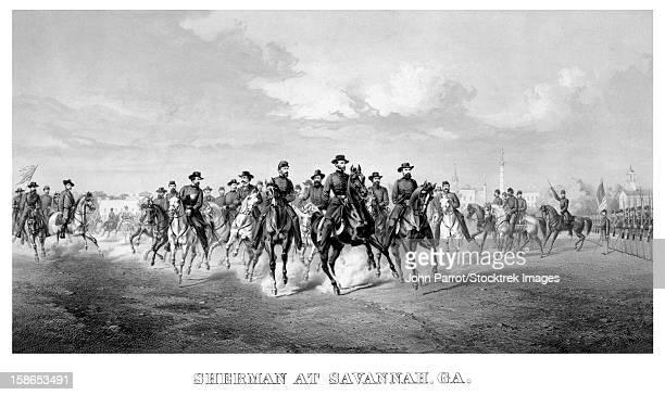 vintage civil war print of general william tecumseh sherman and his generals, on horseback, at savannah georgia. - savannah georgia stock illustrations, clip art, cartoons, & icons