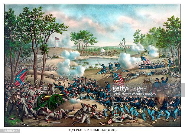 vintage civil war print of the battle of cold harbor. cold harbor took place june 1864, between the armies general grant and general lee. it was a bloody battle and a lopsided victory for the confederacy. - battlefield stock illustrations, clip art, cartoons, & icons