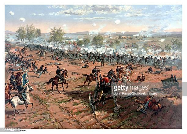 vintage civil war print of the battle of gettysburg. - battle of gettysburg stock illustrations