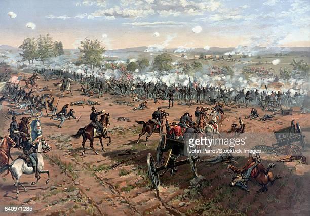 vintage civil war print of the battle of gettysburg. - american civil war battle stock illustrations