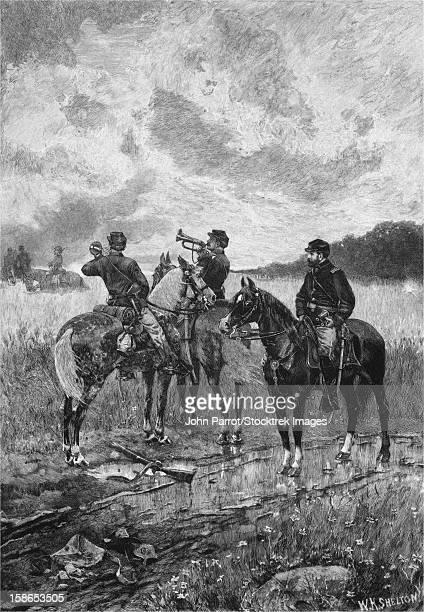 vintage civil war print of three civil war soldiers on horseback, sounding the bugle call. - cavalry stock illustrations