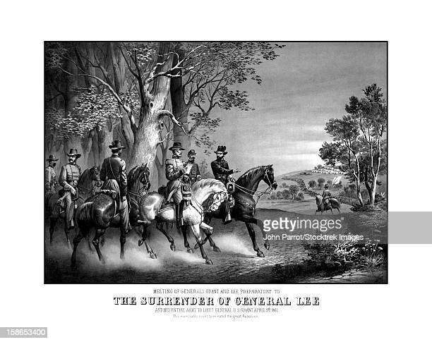 Vintage Civil War print showing the meeting of Generals Robert E. Lee and Ulysses S. Grant