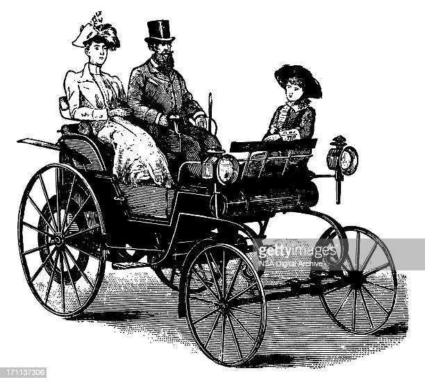 vintage clip art and illustrations | antique car with passengers - 19th century stock illustrations