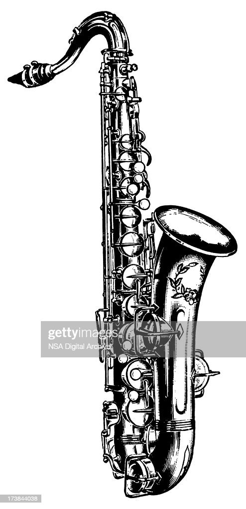 vintage clip art and illustrations i antique saxophone stock rh gettyimages com  saxophone clipart black and white
