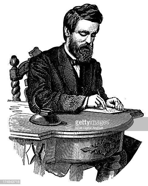 illustrations, cliparts, dessins animés et icônes de vintage clip art et illustrations/homme écrivant sur le bureau - écrivain