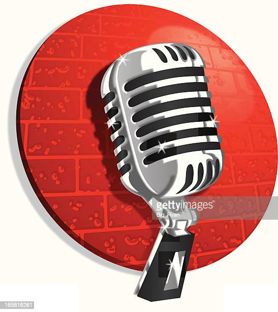 vintage club microphone - karaoke stock illustrations
