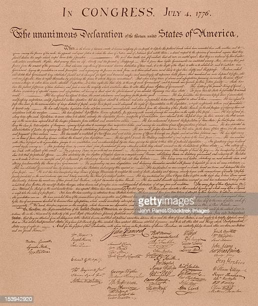 vintage copy of the united states declaration of independence. - declaration of independence stock illustrations