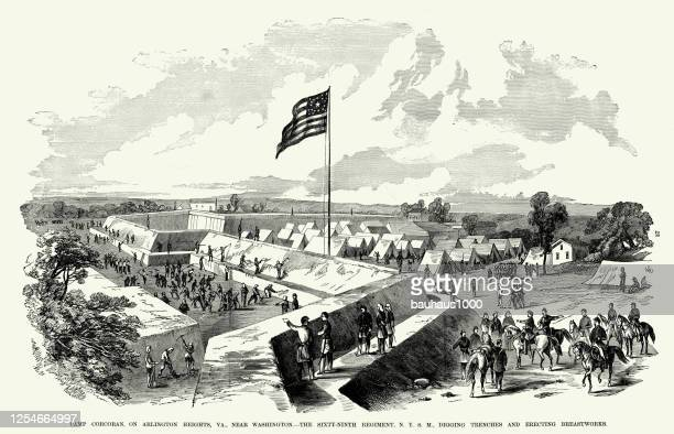 vintage digging trenches and erecting breastworks at camp corcoran on arlington heights, virginia civil war engraving - us military stock illustrations