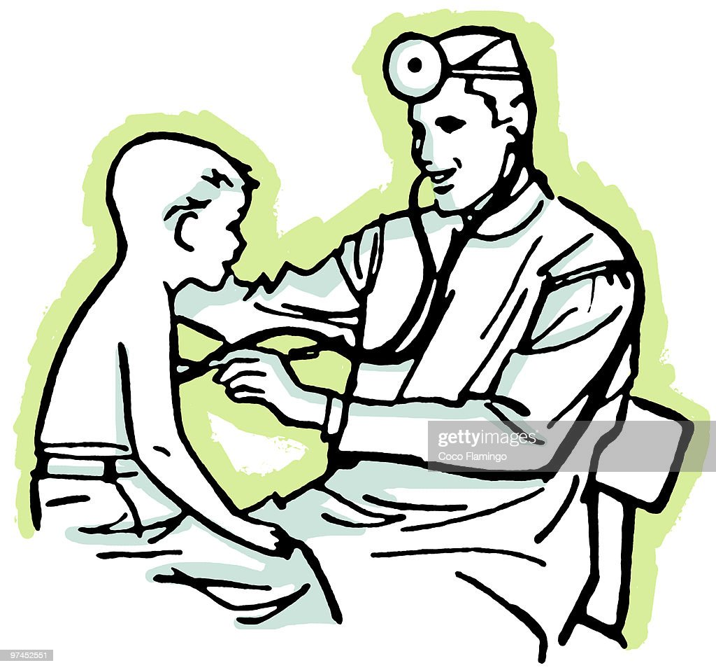 A Vintage Drawing Of Doctor Having Consultation Stock Illustration