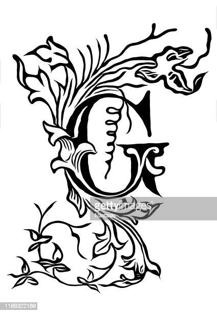 vintage drawing of decorative capital letter g with ornament around and inside - nature alphabet letters stock illustrations