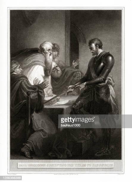 ヴィンテージアールウォーレンネ彼の財産にタイトルを正当化, 英国のビクトリア朝の彫刻, 1806 - 証書点のイラスト素材/クリップアート素材/マンガ素材/アイコン素材