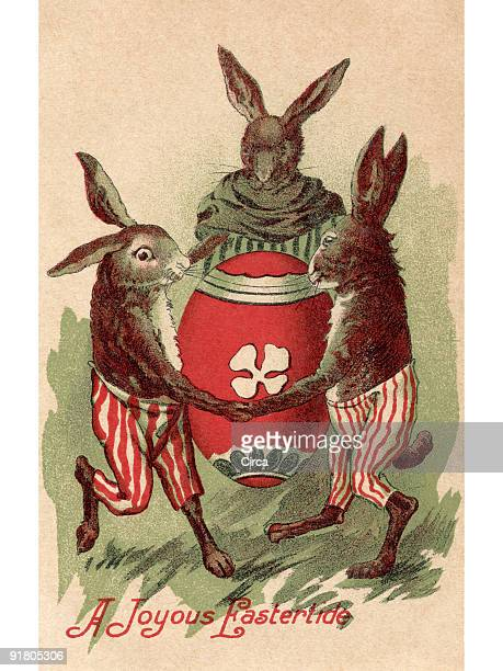 a vintage easter postcard of three rabbits dancing around a painted egg - surrounding stock illustrations, clip art, cartoons, & icons