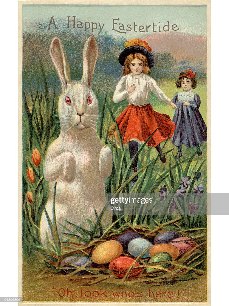 A vintage Easter postcard of two girls running towards a rabbit and a nest of colored eggs : Illustrazione stock