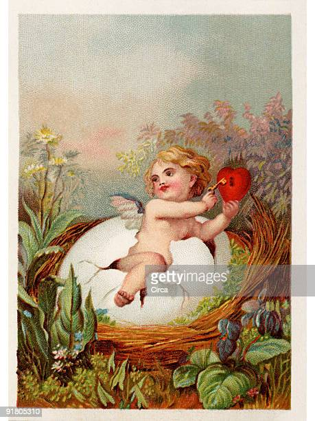 A vintage Easter postcard with a cherub holding a key and heart breaking out of an egg