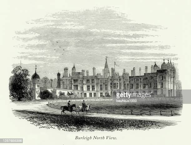 vintage, english victorian engraving, burleigh hall, north view, leicestershire, england, 1875 - loughborough stock illustrations