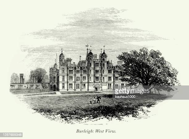 vintage, english victorian engraving, burleigh hall, west view, leicestershire, england, 1875 - castle stock illustrations