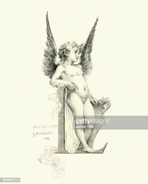 vintage engraving of a little angel - cupid stock illustrations