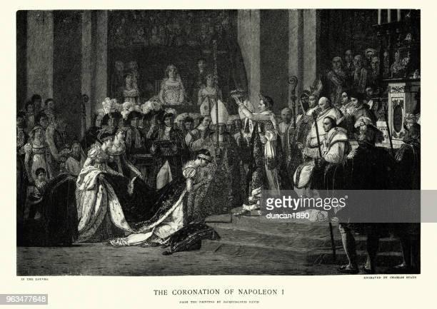 coronation of napoleon bonaparte, emperor pf the french - corona zon stock illustrations