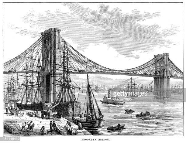 1878 vintage engraving of ships by brooklyn bridge - brooklyn bridge stock illustrations, clip art, cartoons, & icons