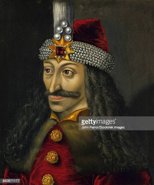 Vintage European history painting of Vlad the Impaler, Prince of Wallachia.
