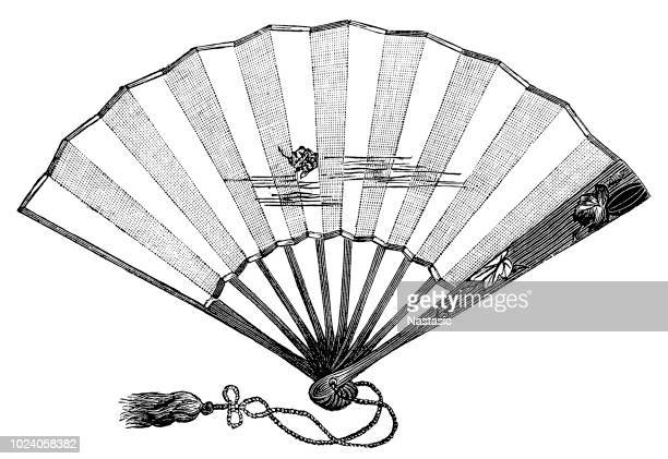 vintage fan - drawing artistic product stock illustrations