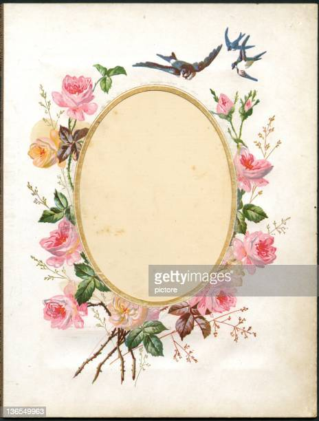 vintage flower frame (xxxl) - rose flower stock illustrations, clip art, cartoons, & icons