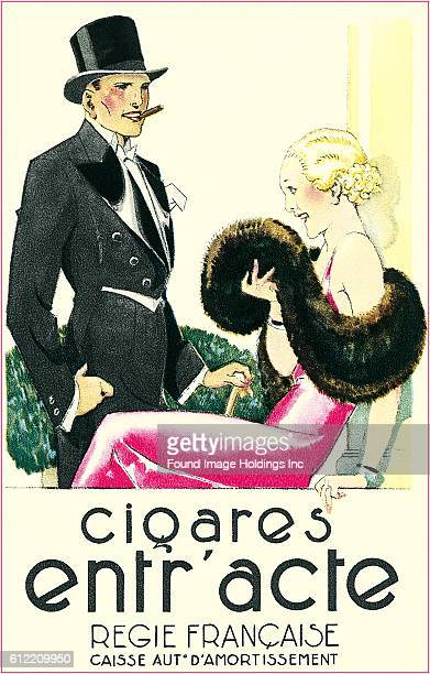Vintage French illustrated advertisement for cigars featuring a couple in formal dress in the 1920s