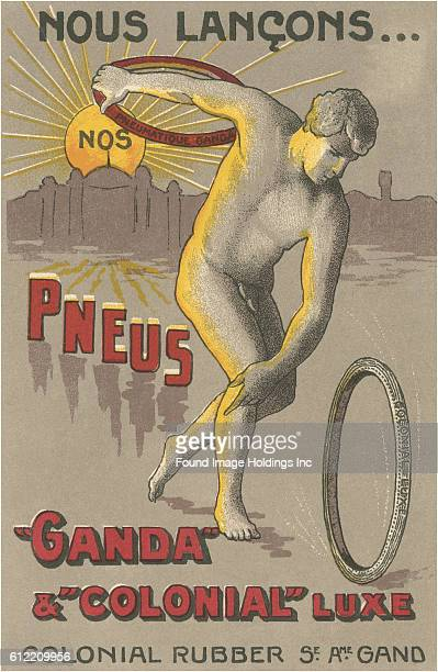 Vintage French illustrated advertisement for tires featuring a nude male discus thrower from the 1920s