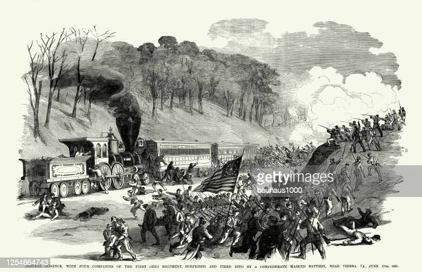 vintage general schenck surprised and fired into by a confederate masked battery near vienna, virginia, june 17, 1861 civil war engraving - vienna va art stock illustrations