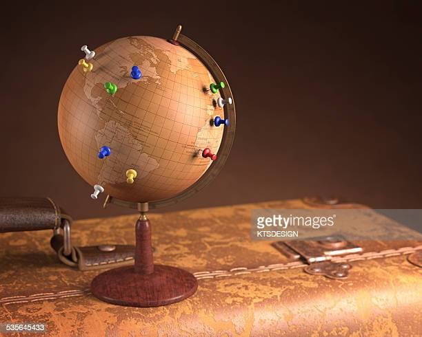vintage globe and suitcase - history stock illustrations