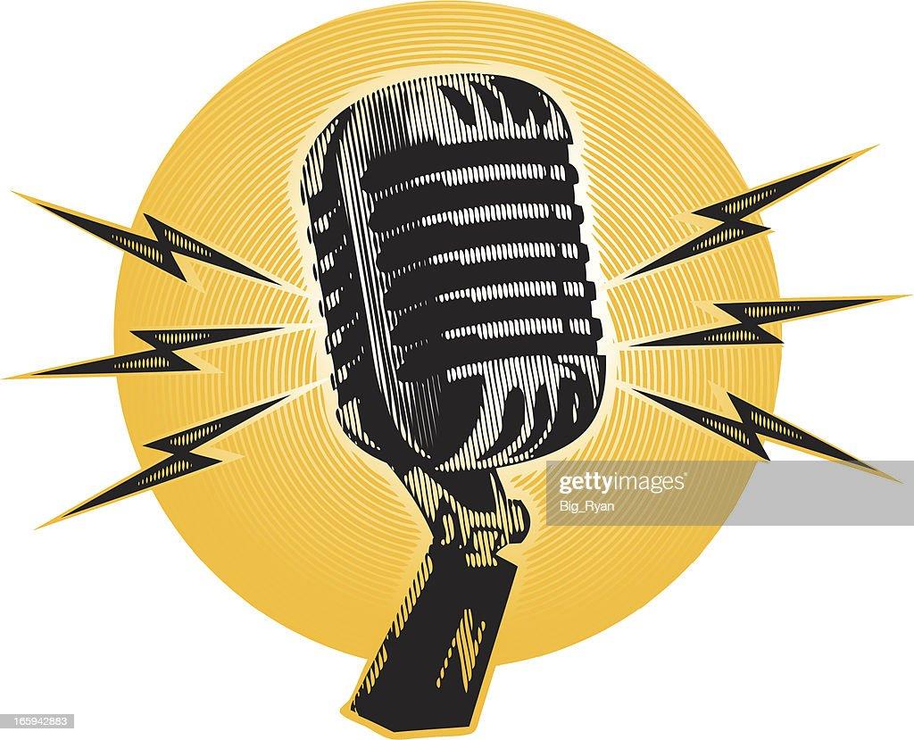 vintage halftone microphone