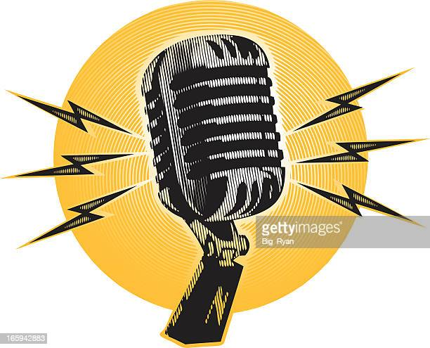 Line Art Microphone : Microphone stock illustrations and cartoons getty images