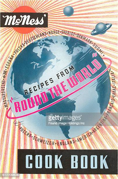 Vintage illustrated cook book cover McNess' Recipes from 'Round the World' from the 1930s