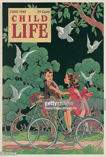 Vintage illustrated magazine cover Child Life featuring a girl and a boy riding bicycles among trees and birds published in June 1942