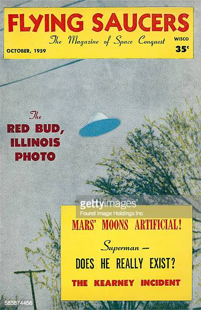 Vintage illustrated magazine cover 'Flying Saucers The Magazine of Space Conquest October The Red Bud Illinois Photo Mars' Moons Artificial Superman...