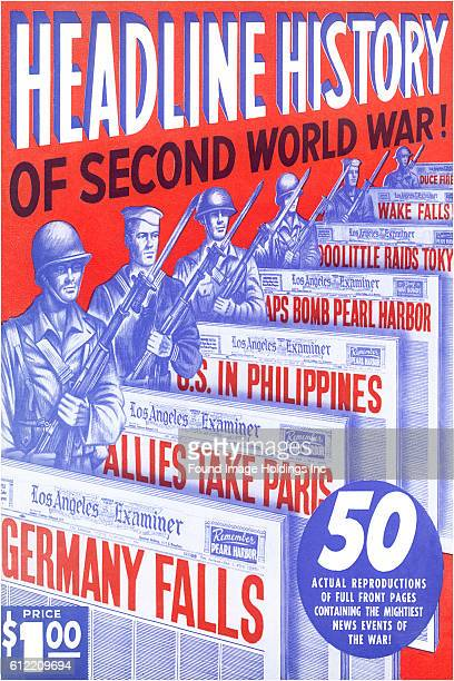 Vintage illustrated magazine cover of headline history of World War II from the 1940s