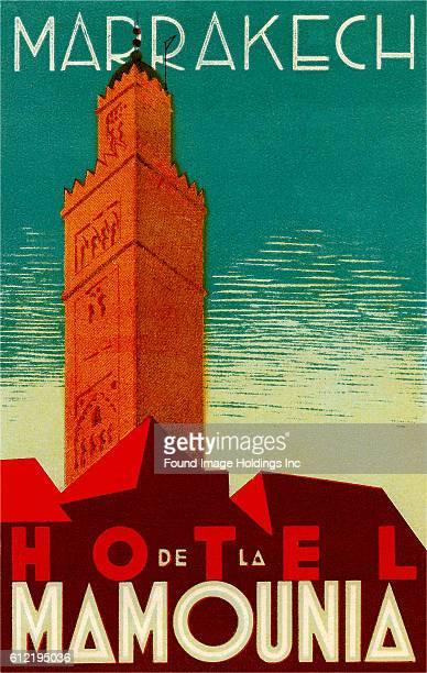 Vintage illustrated poster advertisement for the Hotel de la Mamounia in Marrakech from the 1930s of