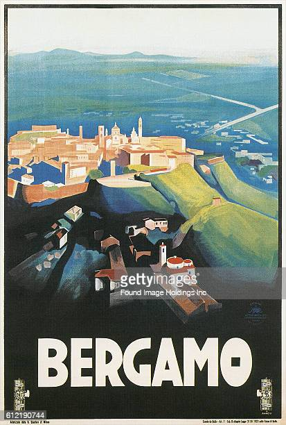 Vintage illustrated travel poster for Bergamo Italy from the 1930s