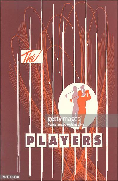 Vintage illustration advertising 'The Players' PGA Tour golf championship in Ponte Vedra Beach, Florida.
