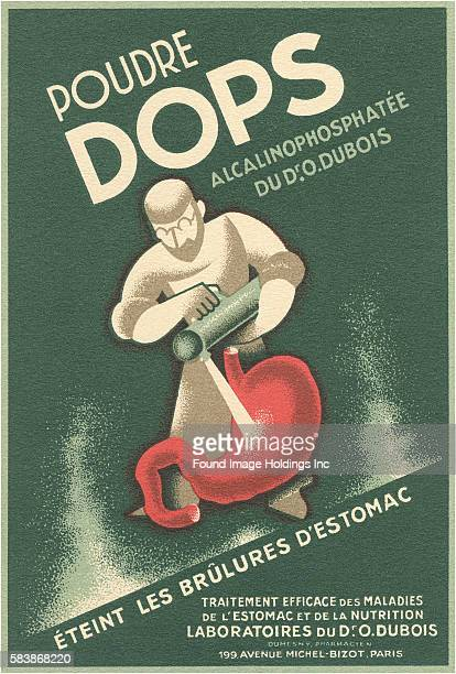 Vintage illustration for 'Poudre dops Stomach Remedy Advertisement traitement efficace des maladies de l'estomac et de la nutrition effective...