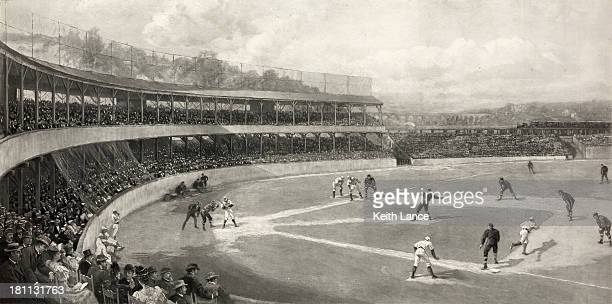 vintage illustration of a baseball game - baseball stock illustrations, clip art, cartoons, & icons