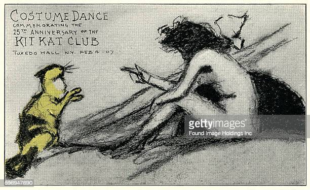 Vintage illustration of a charcoal drawing of an announcement featuring a cat and nude woman 'Costume Dance Commemorating the 25th Anniversary of the...