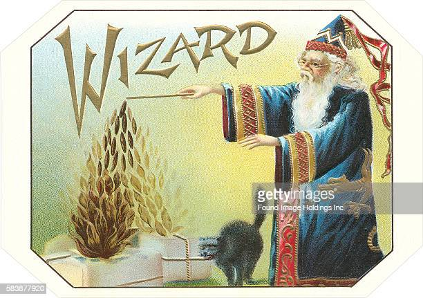 Vintage illustration of a cigar box label for Wizard tobacco with a wizard in an elaborate blue cape and long white beard next to a frightened black...