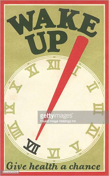 Vintage illustration of a clock face 'Wake Up Give Health a Chance' from the 1910s
