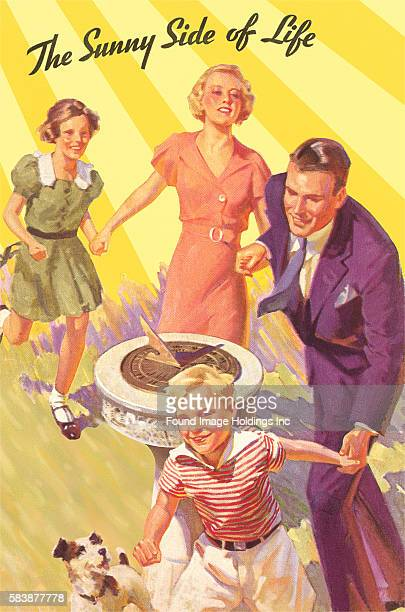Vintage illustration of a family of four holding hands and running around a sundial 'The Sunny Side of Life'