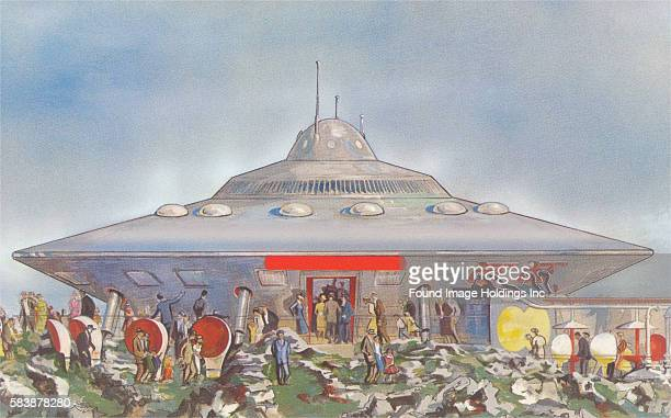 Vintage illustration of a flying saucer with many people milling about, 1950s. Photo by Found Image Holdings/Corbis via Getty Images)