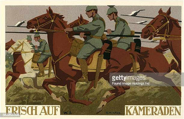 Vintage illustration of a German war poster 'Frisch auf Kameraden driven on comrades' 1910s