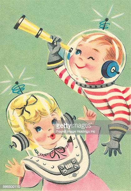 Vintage illustration of a girl and a boy in spacesuits from the 1950s