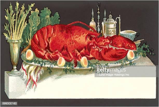 Vintage illustration of a huge lobster on a serving platter in the 1930s
